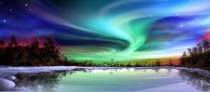aurora boreal lago